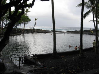 A big pool with the ocean in the back (Ahalanui) *