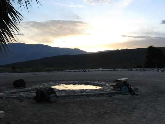 pool during sunset (Saline Valley Palm Springs)